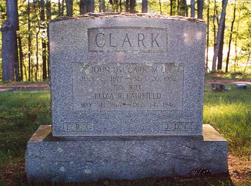 photo of Eliza Randall (Fairfield) and John Clark tombstone